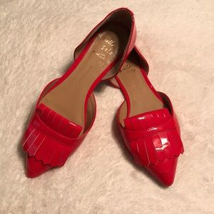 Red Patent Loafer Shoes Banana Republic Size 7